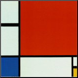 Komposition med rött blått gult Print på trä av Piet Mondrian