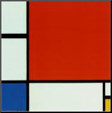 Punaisen, sinisen ja keltaisen sommitelma Pohjustettu vedos tekijänä Piet Mondrian