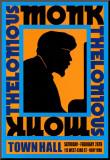Thelonius Monk - Town Hall, NYC 1959 Affiche montée sur bois par Dennis Loren