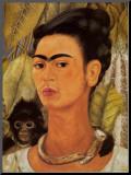 Self-Portrait with Monkey, 1938 Kunst op hout van Frida Kahlo