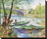 Fishing in the Spring, Pont de Clichy, c.1887 Stretched Canvas Print by Vincent van Gogh
