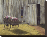 The Flower Cart Stretched Canvas Print by Kathleen Green