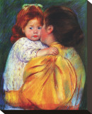 Maternal Kiss, c,1896 Stretched Canvas Print by Mary Cassatt