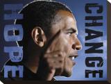 Barack Obama: Hope, Change Stretched Canvas Print