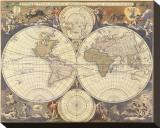 Karte der neuen Welt, 17. Jahrhundert Bedruckte aufgespannte Leinwand von Nicholas Visscher