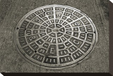 San Francisco Manhole Cover Opspændt lærredstryk af Christian Peacock