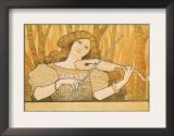 Woman Plays the Violin Art by Paul Berthon