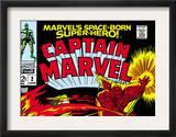 Captain Marvel 2 Cover: Super Skrull and Captain Marvel Swinging Print by Gene Colan