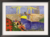 The Langlois Bridge At Arles with Women Washing Poster by Vincent van Gogh