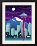 A View of the Skyline in Seattle, WA Prints