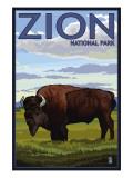 Zion National Park, UT - Bison Plakat af  Lantern Press