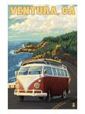 Ventura, California - VW Van Drive Art by  Lantern Press