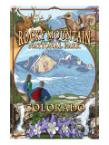 Rocky Mountain National Park, Colorado Montage Poster af  Lantern Press