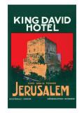 King David Hotel Luggage Label Kunstdruck