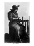 Cowgirl Portrait - Miss F G Kimberley Cutting an Apple Prints by  Lantern Press
