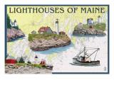 Lighthouses of Maine - Nautical Chart Art par  Lantern Press