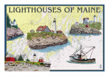 Lighthouses of Maine - Nautical Chart Posters by  Lantern Press