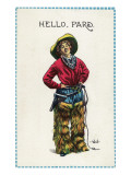 Comic Cartoon - Cowgirl Saying Hello, Pard Prints by  Lantern Press