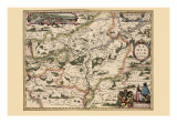 Karte von Belgium & Namur Kunstdrucke von Pieter Van der Keere
