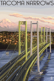 Tacoma, Washington - Narrows Bridge and Rainier Print by  Lantern Press
