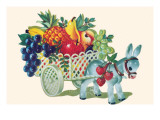Donkey Fruit Cart Poster
