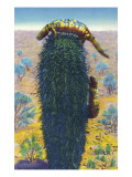 New Mexico - View of Gila Monsters on Cactus Prints by  Lantern Press