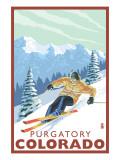 Purgatory, Colorado - Downhill Skier Art by  Lantern Press