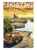 Santa Cruz, California - Woody and Lighthouse Poster by  Lantern Press