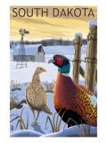 Pheasants - South Dakota Affiche par  Lantern Press