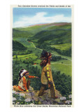 North Carolina - Cherokee Men Overlooking Fields near Great Smoky Mt. Nat'l Park Posters van  Lantern Press