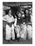 Men Dressed as Cowboys with Bottles of Whiskey Premium Giclée-tryk af  Lantern Press