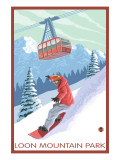 Loon Mountain Park - Snowboarder and Tram Print by  Lantern Press