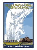 Old Faithful Lodge and Bus - Yellowstone National Park Art by  Lantern Press