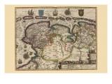 Karte von the Area Ost of the Zuiderzee In the Netherlands Poster von Pieter Van der Keere