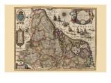 Karte von Picardy, Frankreich Kunstdrucke von Pieter Van der Keere