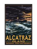 Alcatraz Island Night Scene - San Francisco, CA Prints by  Lantern Press