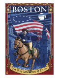 Old North Church and Paul Revere - Boston, MA Plakater av  Lantern Press