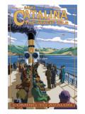 Catalina Island, California - Steamer Coming to Avalon Plakat af  Lantern Press