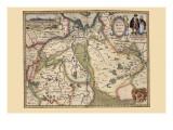 The Area Around Deventer, Netherlands Kunstdrucke von Pieter Van der Keere