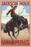 Jackson Hole, Wyoming Bucking Bronco Kunstdruck von  Lantern Press
