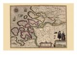 Karte von Holland Poster von Pieter Van der Keere