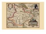 Karte von the Area around Zutphanis, Netherlands Kunstdrucke von Pieter Van der Keere