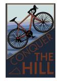 Den Berg bezwingen - Mountainbike, Englisch Poster von  Lantern Press