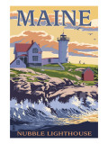 Nubble Lighthouse - York, Maine Kunst av  Lantern Press