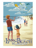 Long Beach, Washington - Kite Flyers Plakater af  Lantern Press