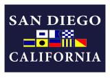 San Diego, California - Nautical Flags Prints by  Lantern Press