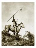 The Challenge (Yakama Warrior on Horseback, 1911) Giclée-Druck von Eugene Everett Lavalleur and L.V. McWhorter