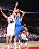 Dallas Mavericks v Portland Trail Blazers - Game Three, Portland, OR - APRIL 21: Dirk Nowitzki and  Photo by Sam Forencich