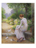Feeding the Doves Giclee Print by Ernest Walbourn