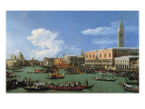 The Bucintoro Preparing to Leave the Molo on Ascension Day Impressão giclée por  Canaletto